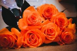 Beautiful rose petals. Orange roses. Bright bouquet of roses.