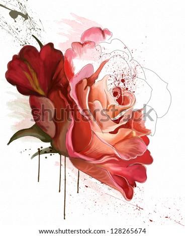 Stock Photo beautiful rose, watercolor