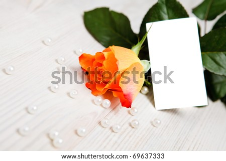 Beautiful rose with pearls and hearts as a gift for Valentine's day. With copy-space.