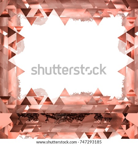 Beautiful rosegold picture frame. Modern design with geometric shapes, triangles pattern.