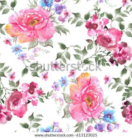Beautiful Roses seamless pattern. Watercolor illustration , isolated on white background.