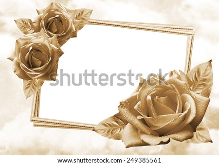 Beautiful roses with photo frame on romantic background