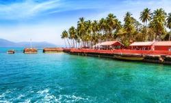 Beautiful Ross Island beach bay at Andaman India.