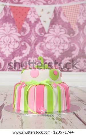 Beautiful Round Double Tier Polka Dot And Stripe Birthday