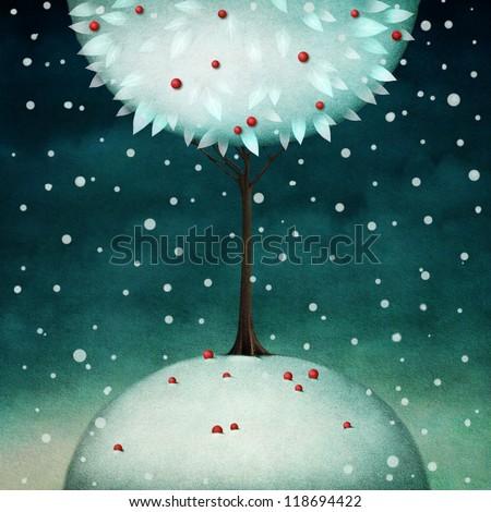 Beautiful round winter tree