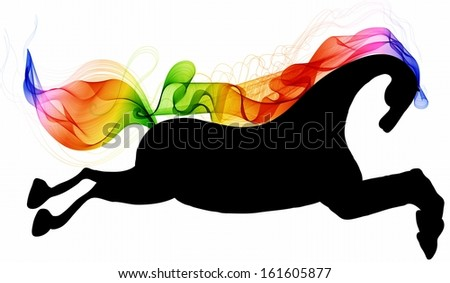 Beautiful running Horse black silhouette with bright color abstract tail and mane, for 2014 New Year design