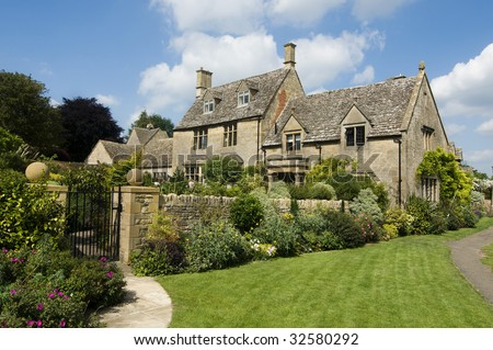 Beautiful rural Cotsworld stone homes in countryside of England
