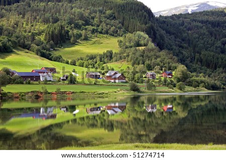 Beautiful rural landscape deep in norwegian mountains, Scandinavian Europe.