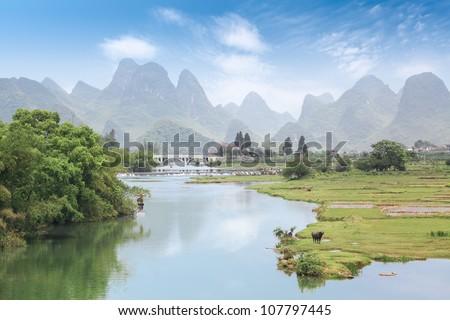 beautiful rurality scenery in yangshuo yulong river - stock photo