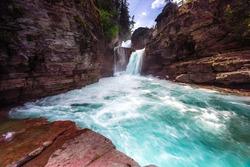 Beautiful Saint Mary Falls at Glacier National Park Montana