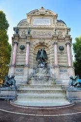 beautiful Saint Michel fountain in Paris