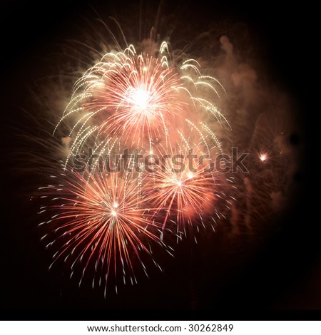 Beautiful salute and fireworks with the black sky background. - stock photo