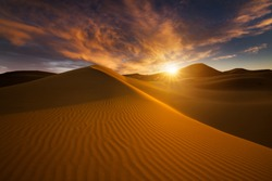 Beautiful sand dunes in the Sahara desert.