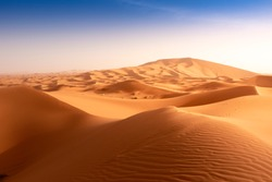 Beautiful sand dunes in the Sahara desert at Morocco