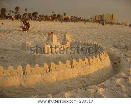 Beautiful sandcastle in Florida. - stock photo