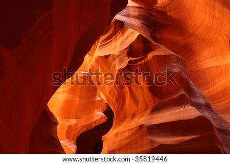 Beautiful sandstone rock formations of Antelope Canyon in Page Arizona