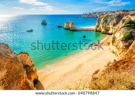 Beautiful sandy beach near Lagos in Ponta da Piedade, Algarve region, Portugal