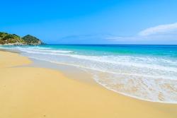 Beautiful sandy Cala Sinzias beach and turquoise sea, Sardinia island, Italy