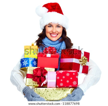 Beautiful Santa helper christmas girl with gifts isolated on white ...