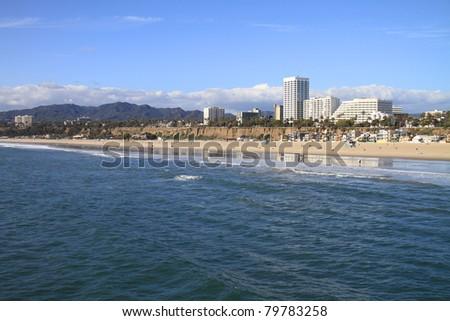 Beautiful Santa Monica beach and the Pacific Ocean
