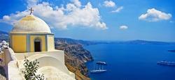beautiful Santorini - caldera view with small church