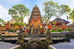 Beautiful Saraswati Temple at early morning in Ubud; Indonesia