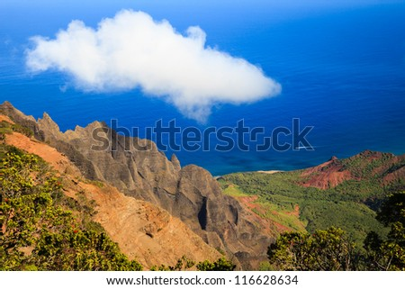 Beautiful Scene at Kalalau Valley on Kauai island, Hawaii.