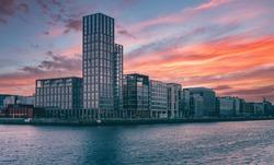 Beautiful scene daylight Dublin Ireland capital landscape city urban area modern buildings