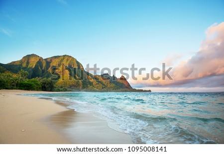 Beautiful scene in Tunnels Beach on the Island of Kauai, Hawaii, USA Stock photo ©