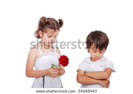 Beautiful scene of a boy and girl with rose