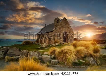 Beautiful scene of Church of good Shepherd, New Zealand
