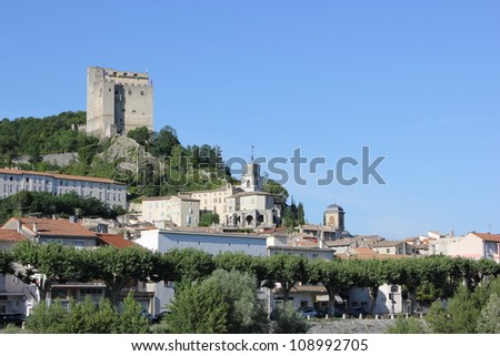 Beautiful scene of Crest castle and church in Drome, France