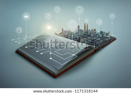 Beautiful scene of modern city skyline pop up in the open book pages with smart home controlled wireless connections iot automation system .