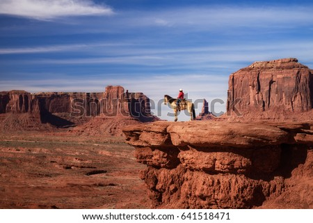 beautiful scene of Native American sitting on a horse in Monument Valley, Utah - Arizona State, America.