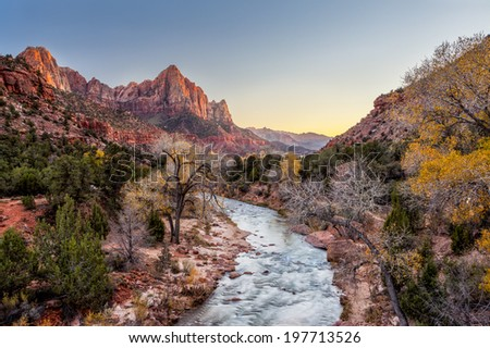 Beautiful scene of Zion National Park , The watchman at sunset, Utah. #197713526