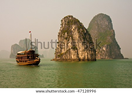 Beautiful Scene on a Gloomy Day in Halong Bay, Vietnam.