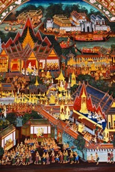 Beautiful Scene Painted on a Temple window at Grand Palace, Bangkok, Thailand.
