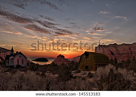 stock-photo-beautiful-scene-with-old-church-and-barn-145513183.jpg