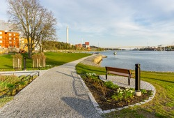 Beautiful scenery at the water in bay in one of swedish places at Baltic sea
