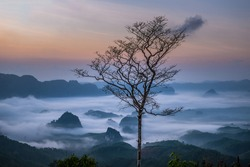 Beautiful scenery during sunrise of Doi Tapang (Doi Ta Pang) Viewpoint at Khao Talu Subdistrict, Sawi District, Chumphon province in Thailand.