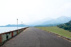 Beautiful scenery from the Banasura sagar dam in Western Ghats, Kerala, extreme long shot