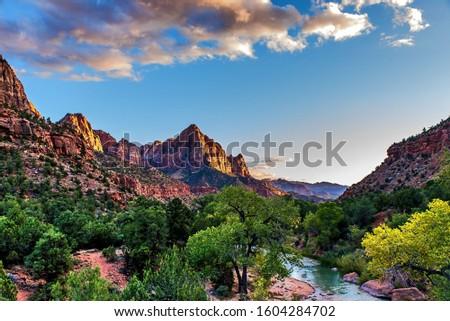 beautiful scenery in zio national park utah Zdjęcia stock ©