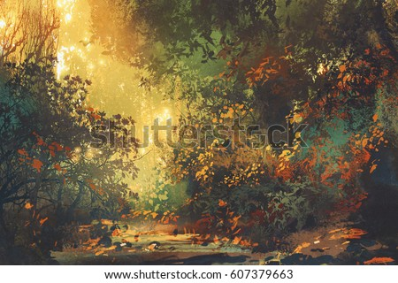beautiful scenery of colorful forest with trees and flowers in spring at sunset,illustration painting