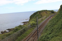 Beautiful Scenery of Graystone railway with seashore in Ireland
