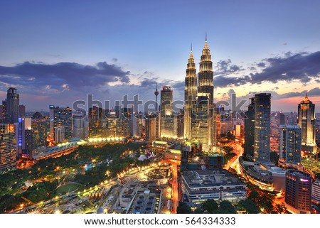 Beautiful scenery of Kuala Lumpur City Centre with sunset sky background.