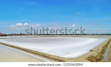 Beautiful scenery of salt pan and blue sky at Samutsongkram province during summer time of Thailand,  South East Asia,  Asia.
