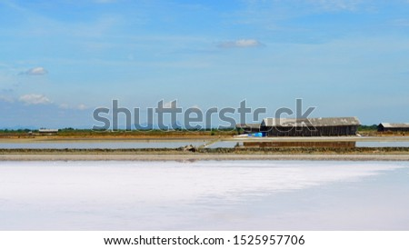 Beautiful scenery of salt pan and blue sky during summer time of Thailand,  South East Asia, Asia.