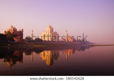 Beautiful Scenery of Taj Mahal and a Body of Water, India #180142628