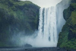 Beautiful scenery of the majestic Skogafoss waterfall, Iceland