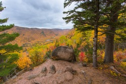 Beautiful scenery of the valley as seen through a lookout hiking the Franey Trail, Cape Breton Highlands, Nova Scotia, Canada
